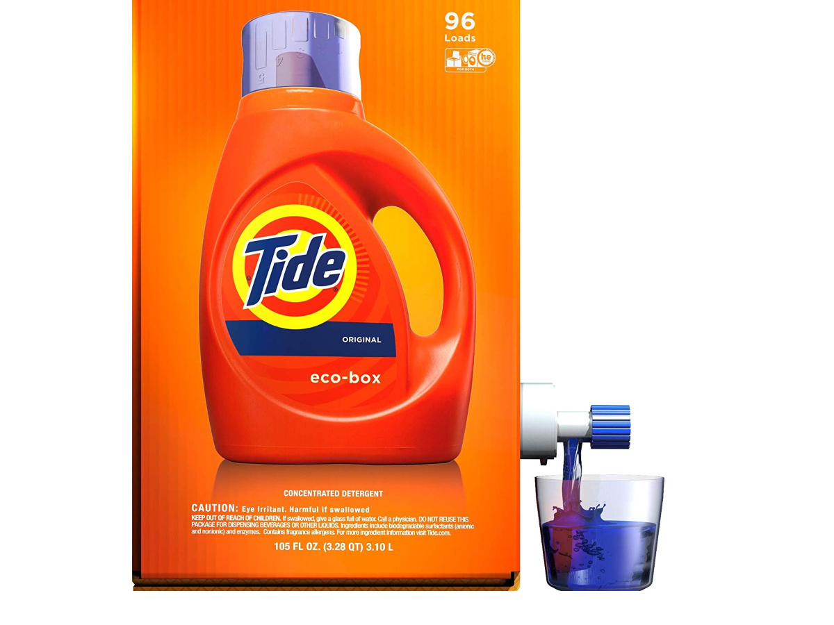 side view of the tide liquid laundry detergent eco-box dispensing detergent