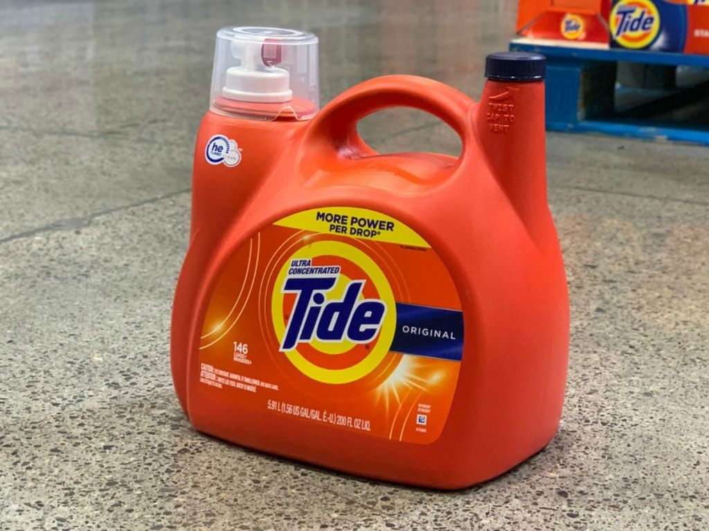 large bottle of liquid laundry detergent on store floor