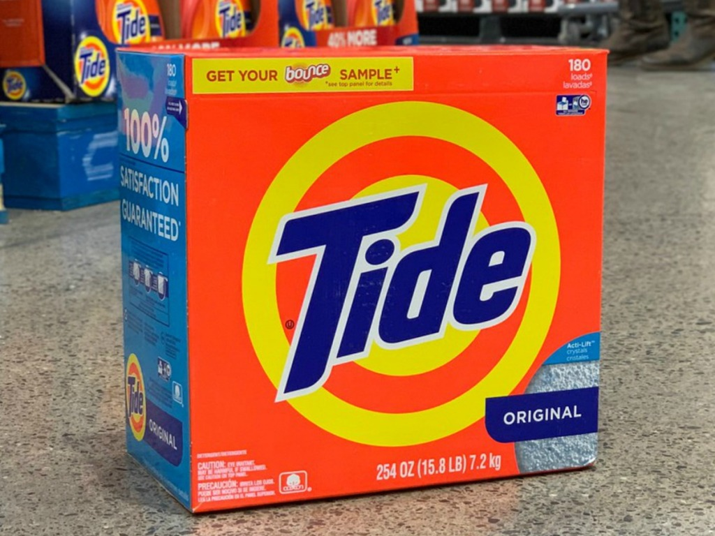 large box of tide powder detergent on store floor