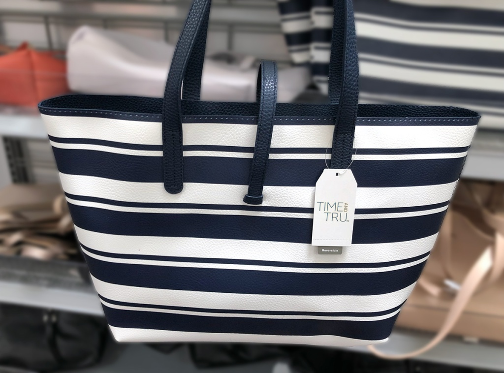 time and tru blue and white striped bag