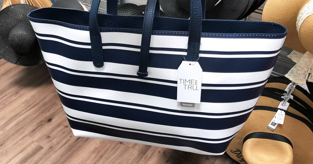close up of time and tru blue and white stripe bag