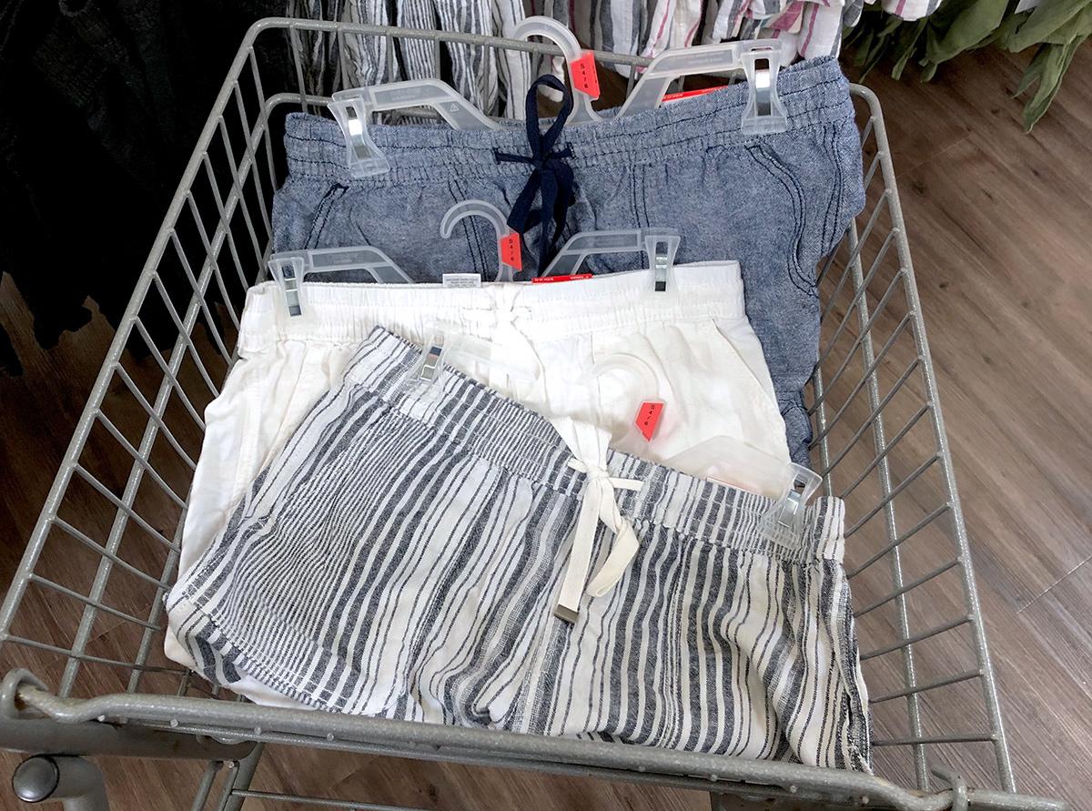 arrangement of linen shorts in cart at walmart