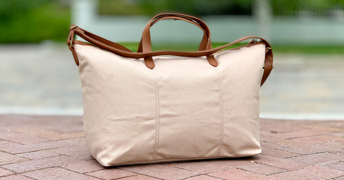 time and tru cream and tan weekender bag