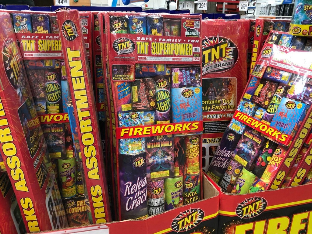 large box of fireworks in store display