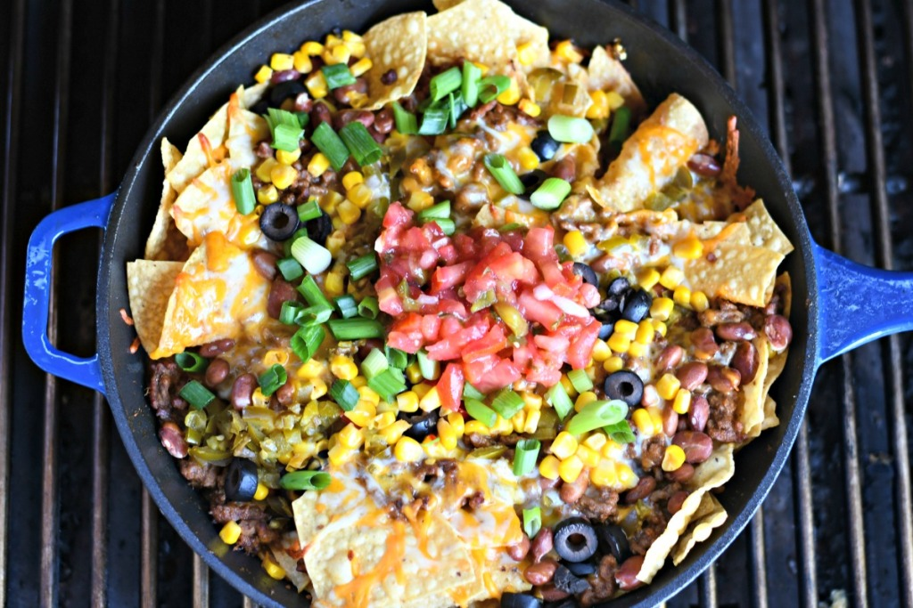 top view of skillet nachos on the bbq grill