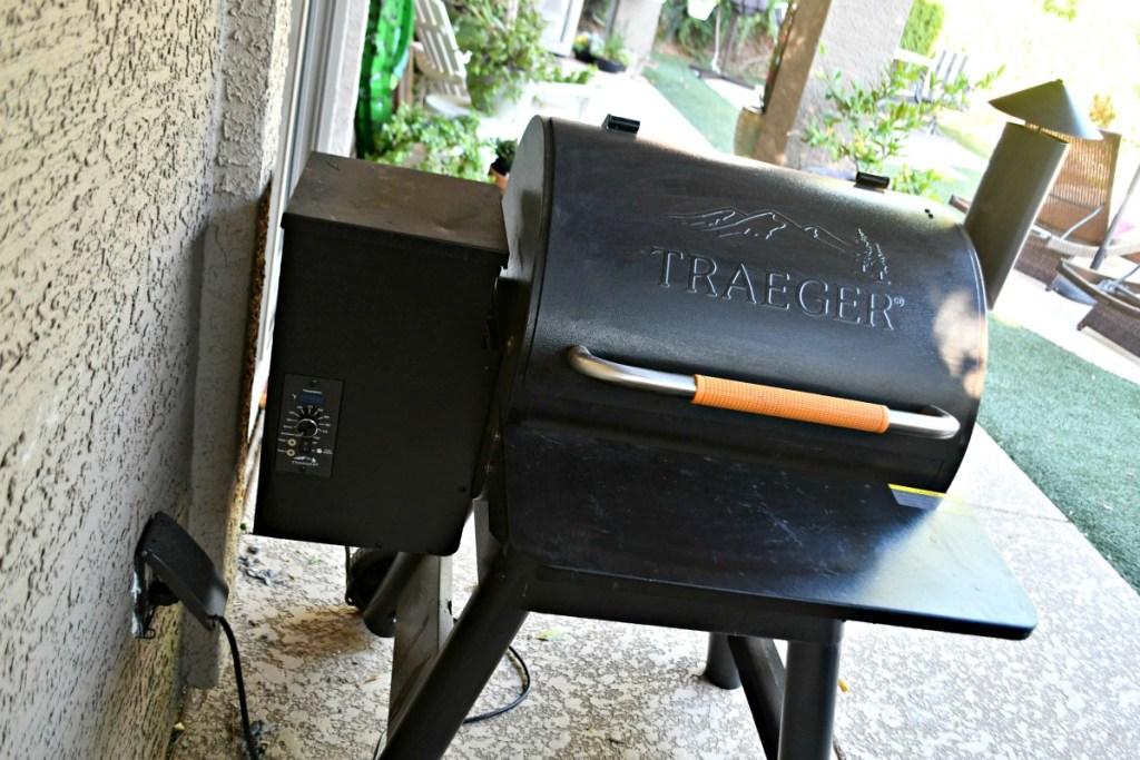 traeger smoker in the backyard