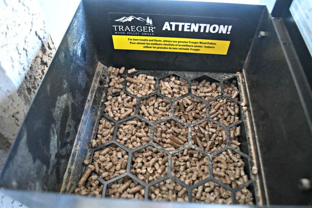 traeger smoker pellets in the hopper