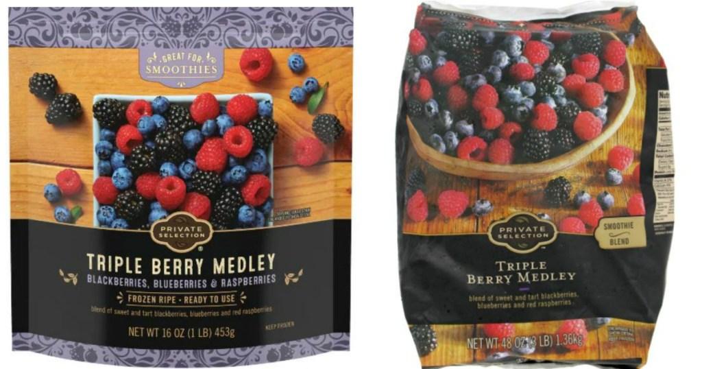 two bags of frozen berries