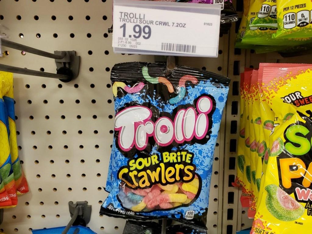 hanging bag of trolli sour brite crawlers
