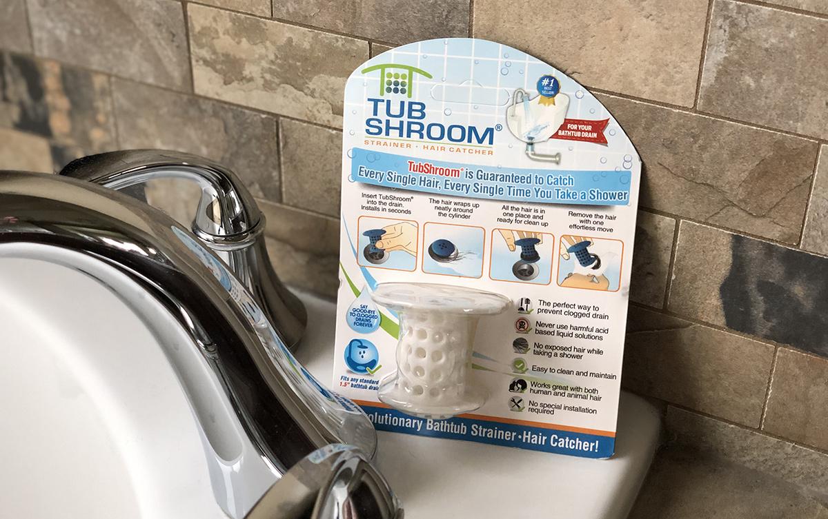 packaging of tubshroom on sink