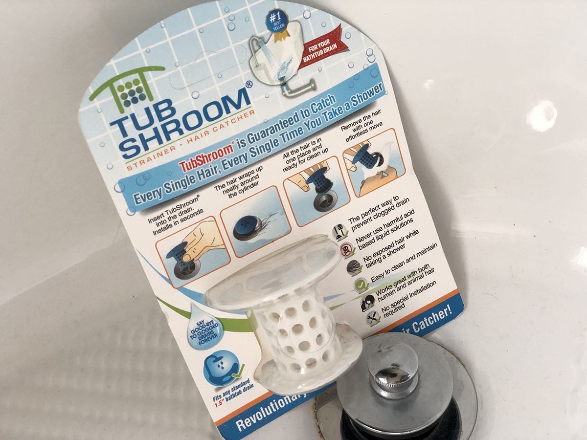 packaging of tubshroom near bath drain