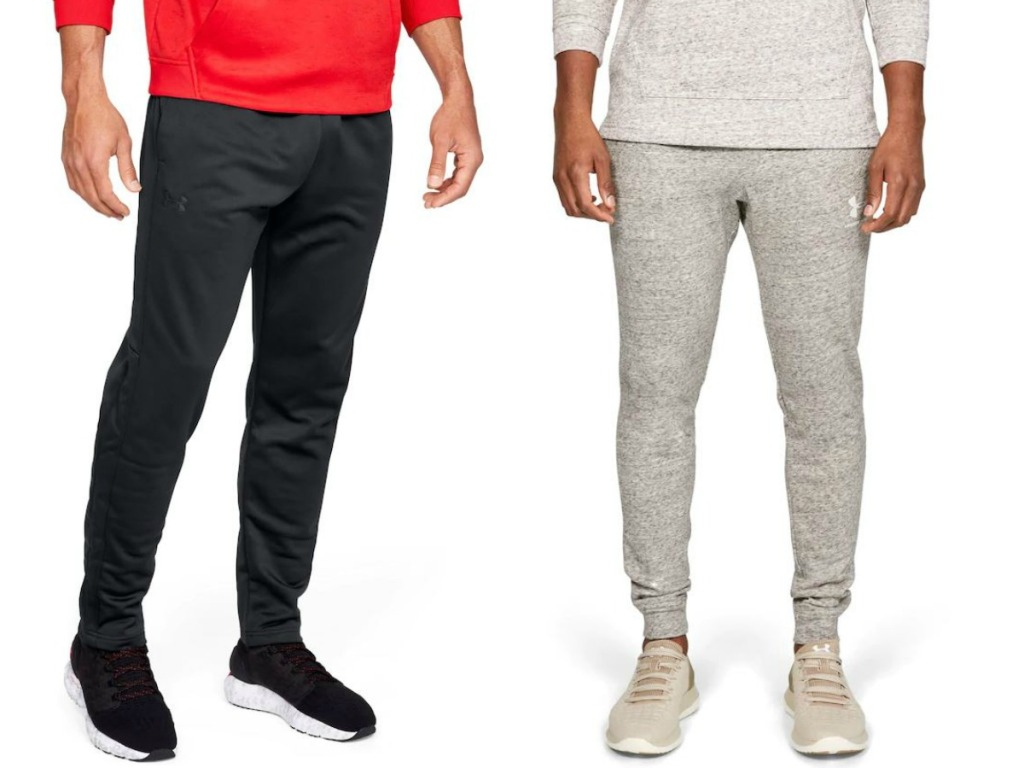 men's legs wearing fleece pants made by Under Armour