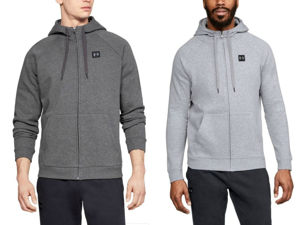 Two men wearing hoodies made by Under Armour