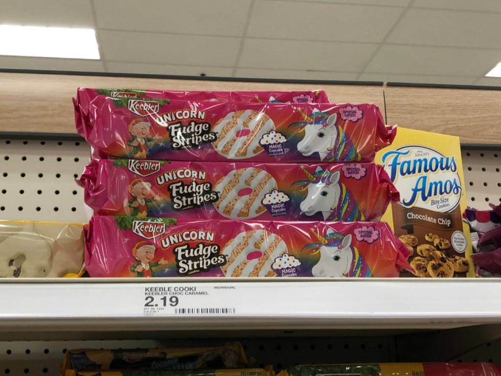 package of cookies on store shelf with unicorn