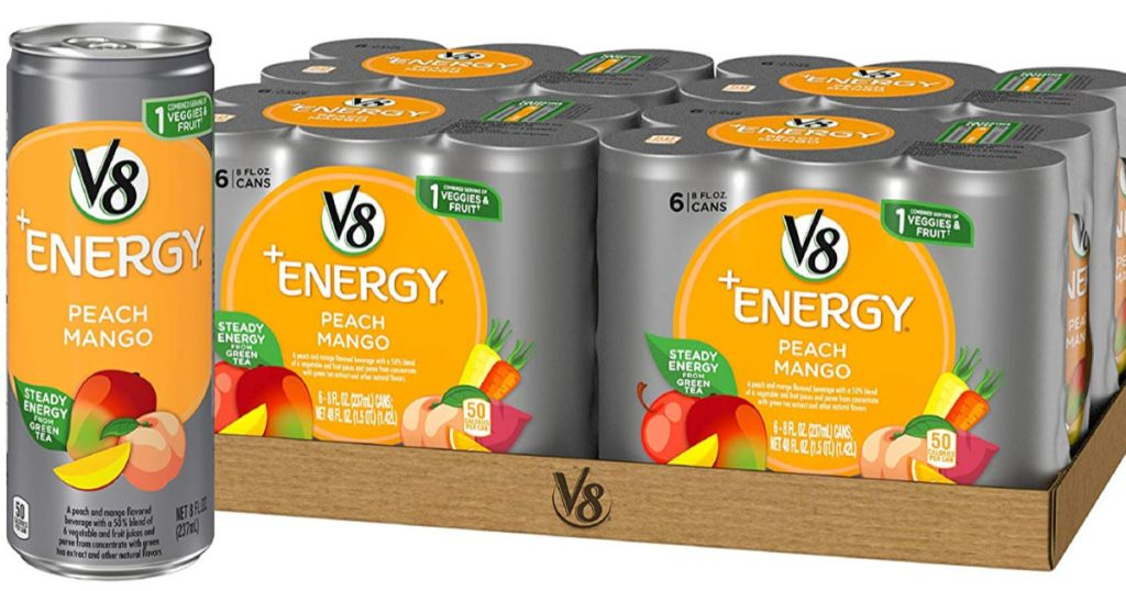 one can and cases in the background of v8 energy peach mango