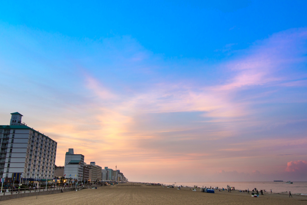 buildings along coastline at Virginia Beach for a cheap family vacation