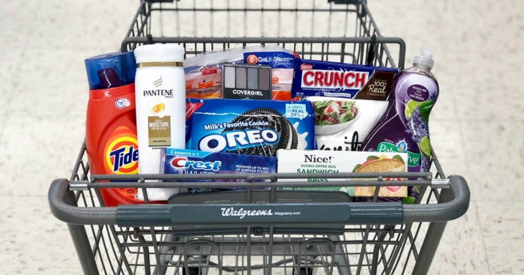 tide laundry detergent, pantene shampoo, crest toothpaste, oreo cookies, nestle crunch bar and palmolive dish liquid at walgreens