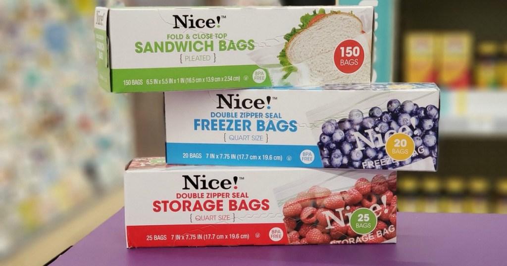 nice! sandwich, storage or freezer bags at walgreens