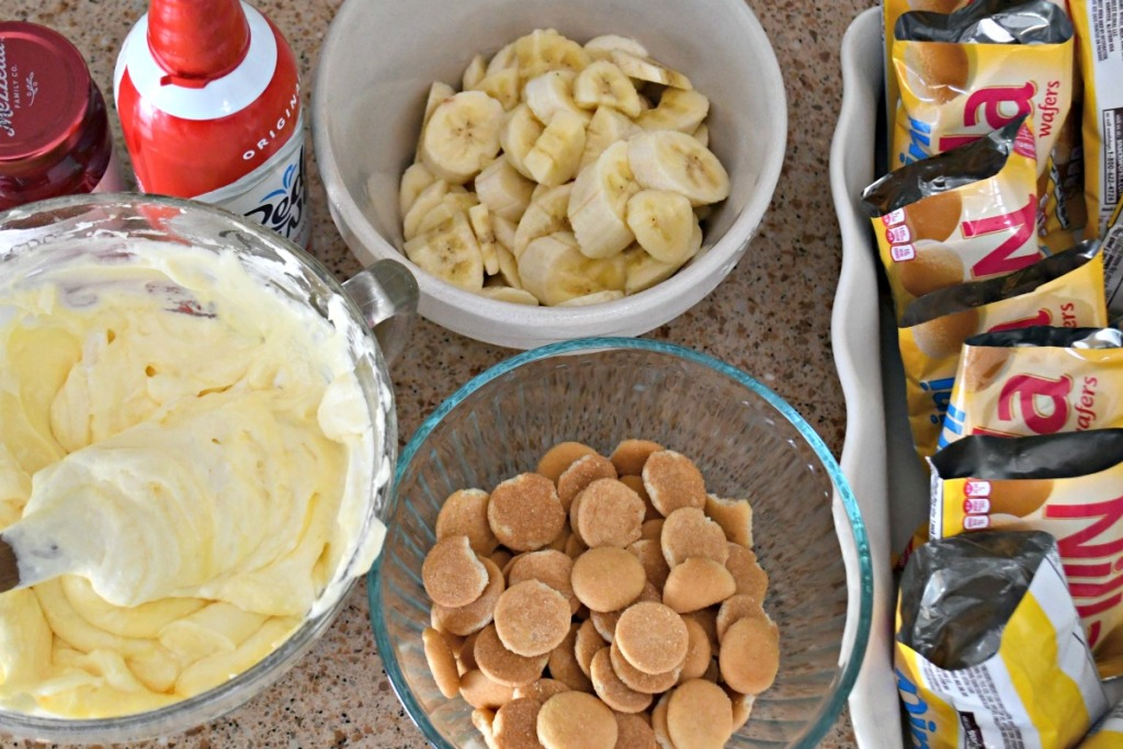 walking banana pudding ingredients on the counter