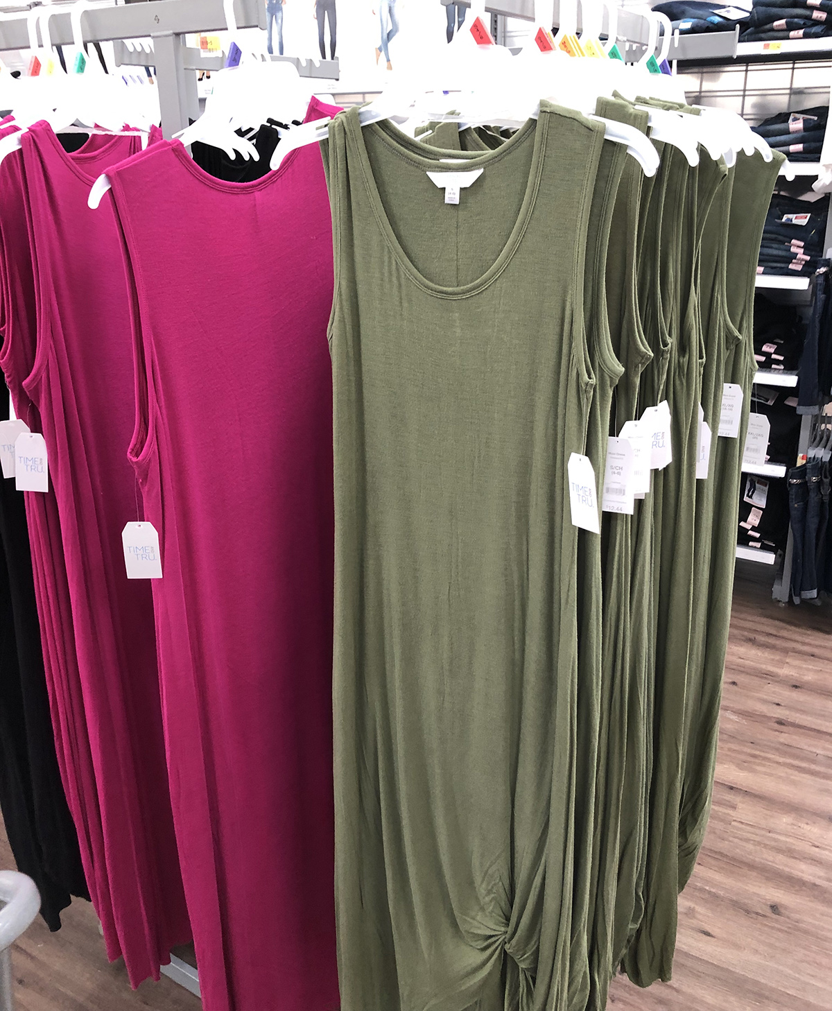 green and pink colorways of time and tru knotted maxi dress at walmart