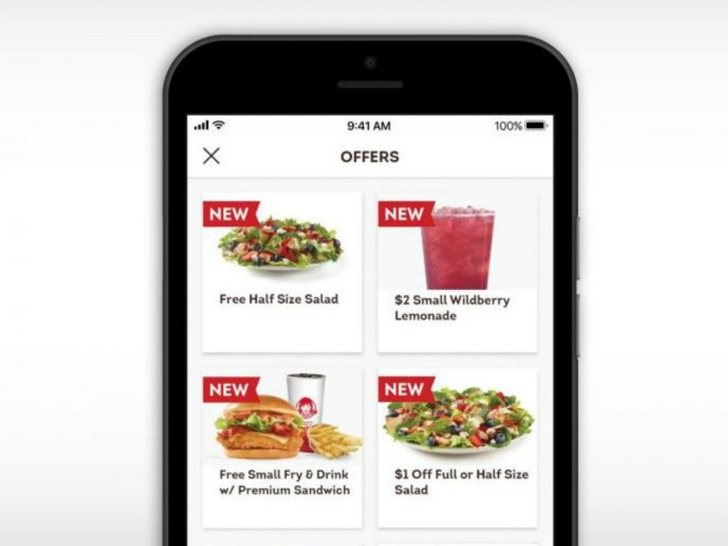 a phone with offers to eating specials at wendy's