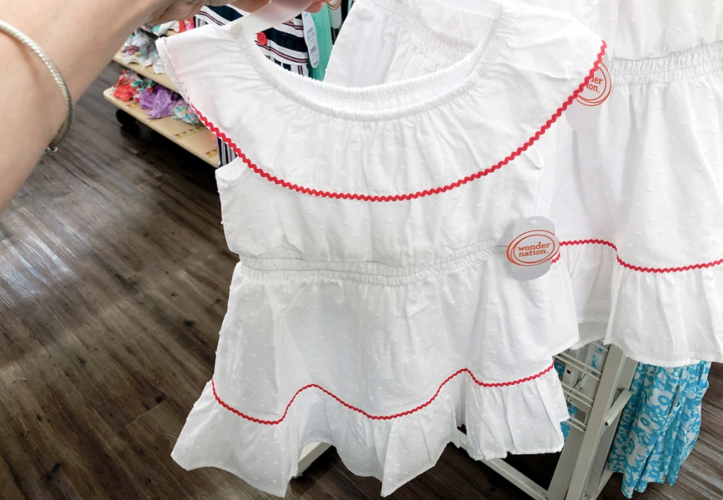 little girls white dress with red piping at walmart