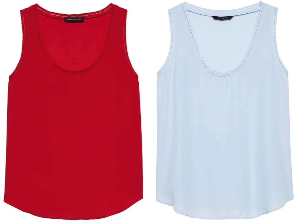 red tank top and blue tank top