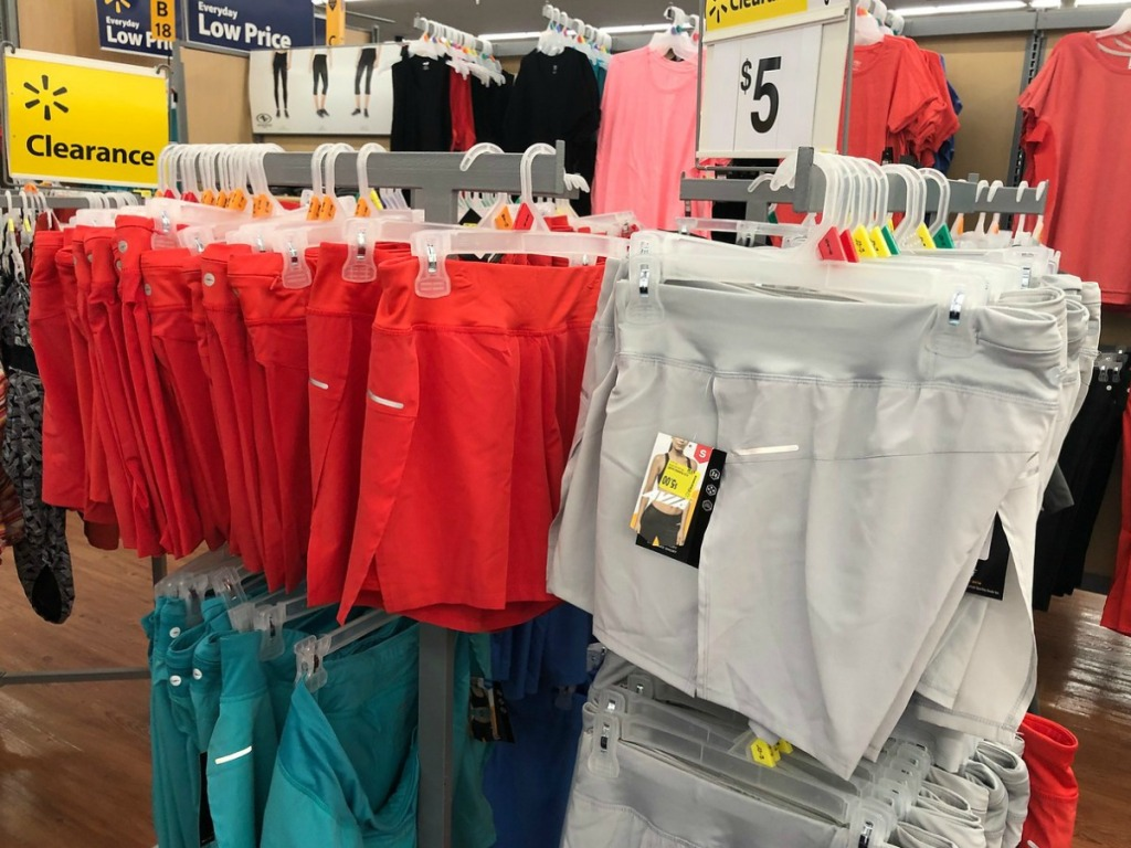 store display of clearing shorts in grey, red and blue