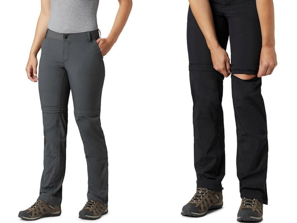 women's legs in grey pants and women's leg in black pants