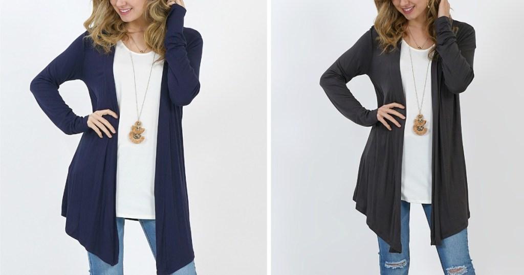 navy blue and gray women's drape cardigans