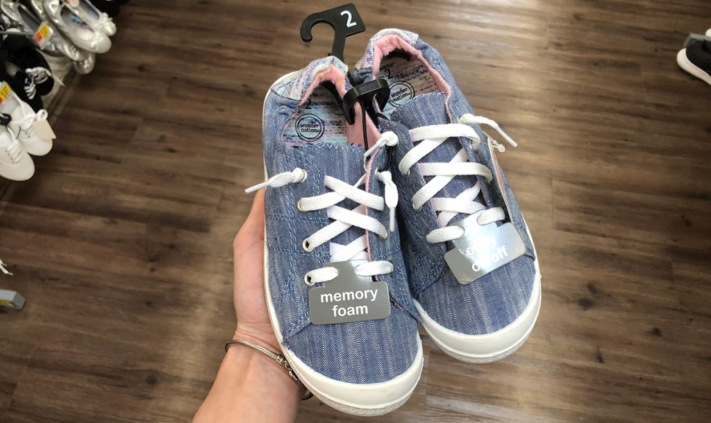 girls scrunch back chambray sneakers at walmart