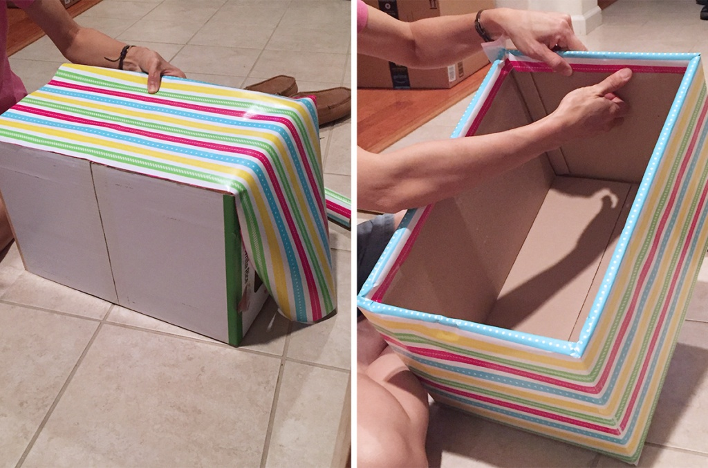 wrapping cardboard boxed with decorative wrapping paper
