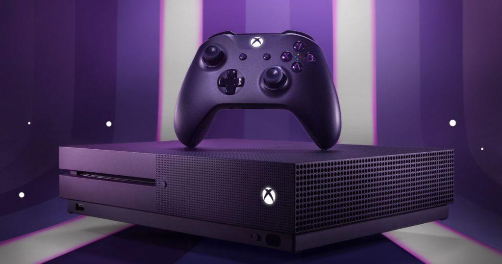 purple xbox controller and console fornite edition