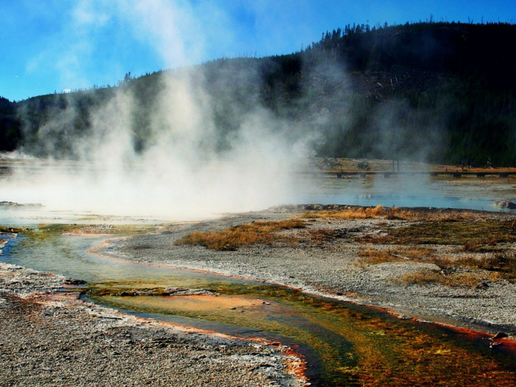 Yellowstone Nation Park view of hot springs