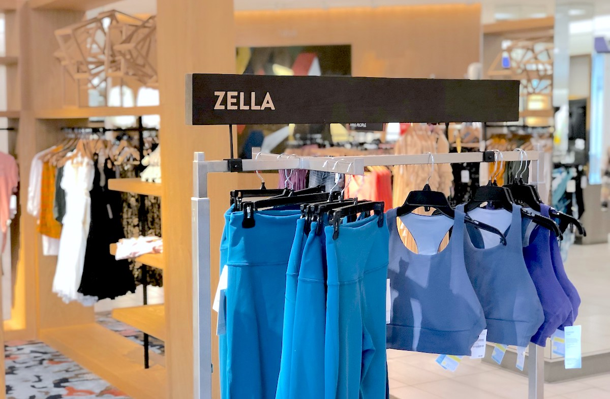 rack of zella workout clothes in store