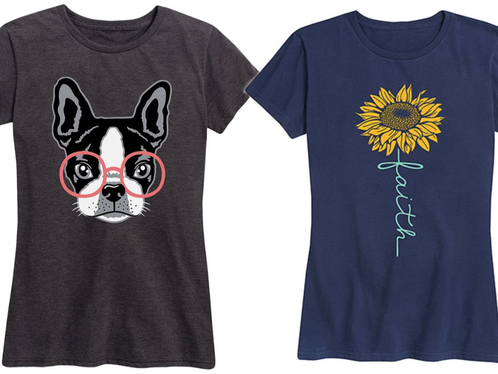 Womens Navy 'Faith' Sunflower Relaxed-Fit Tee and Heather Charcoal French Bulldog With Glasses