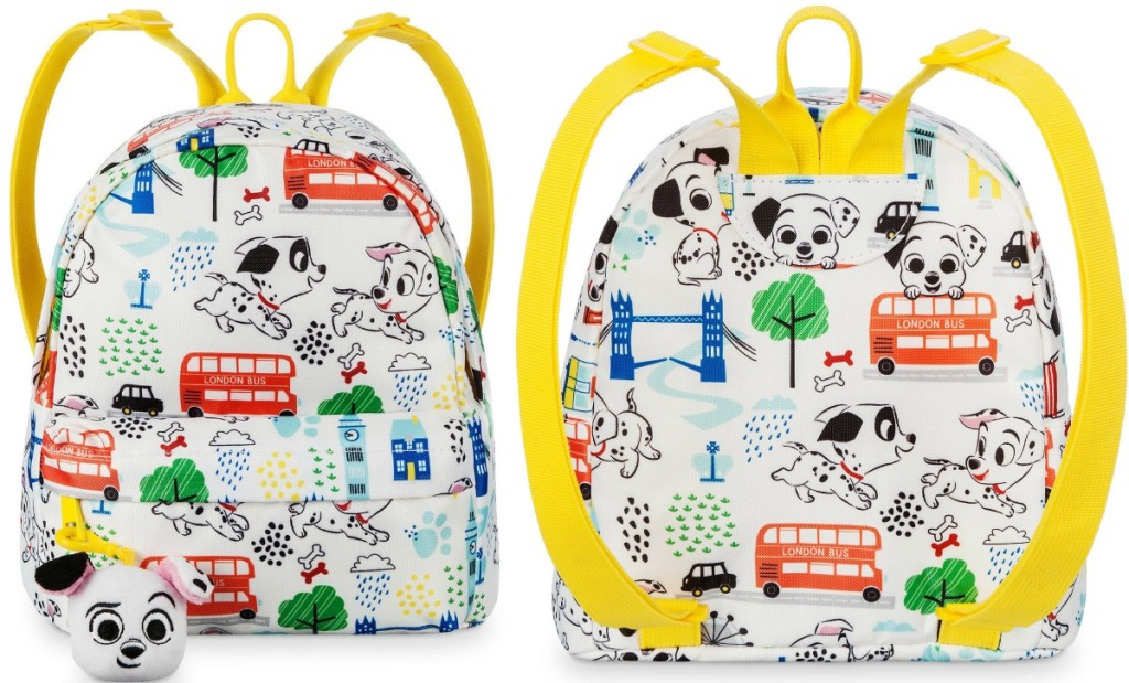101 Dalmations Mini Backpack with yellow straps and backpack clip