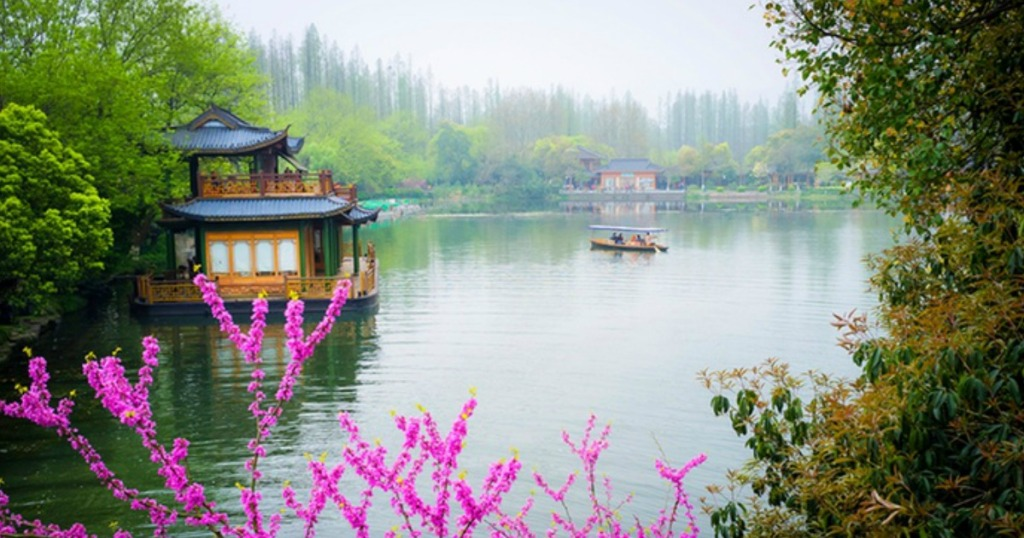 Beautiful view of china across the water with flowers