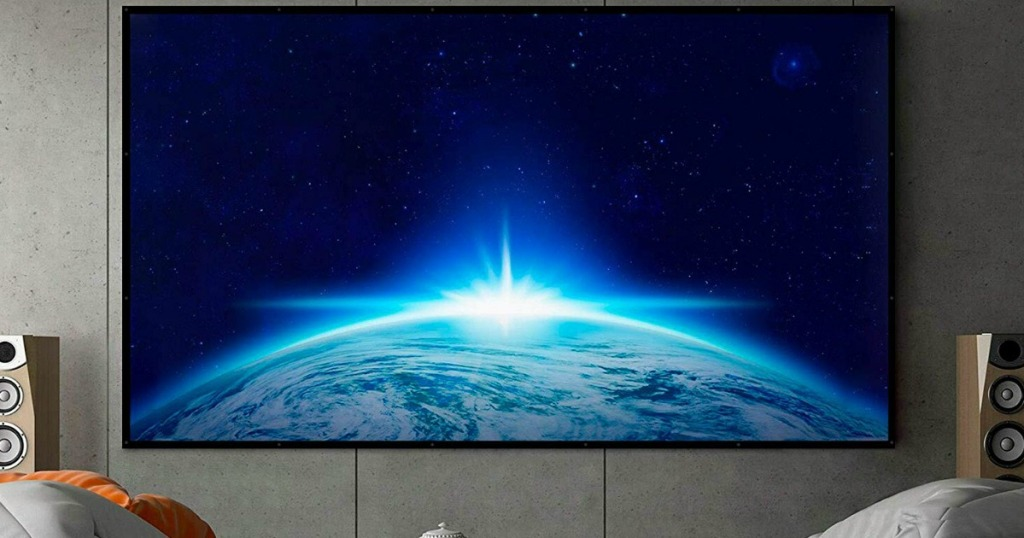 projection screen hanging on a wall