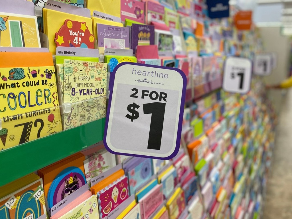 2 for $1 sign on greeting cards at Dollar Tree