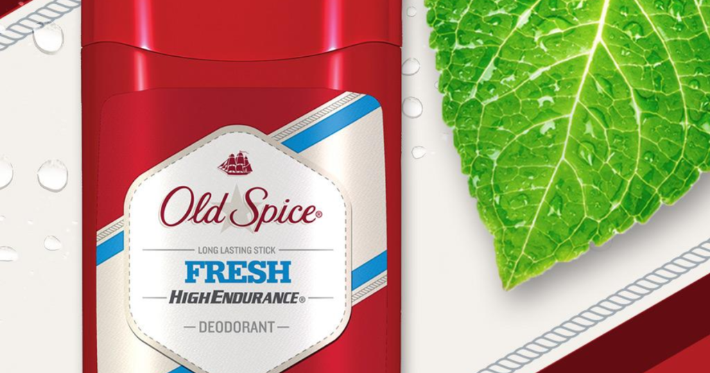Old Spice Robust Greens Scent High Endurance Aluminum Free Deodorant with green leaf