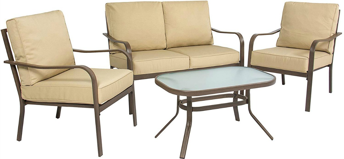 beige 4-piece patio set with love seat, two chairs and table