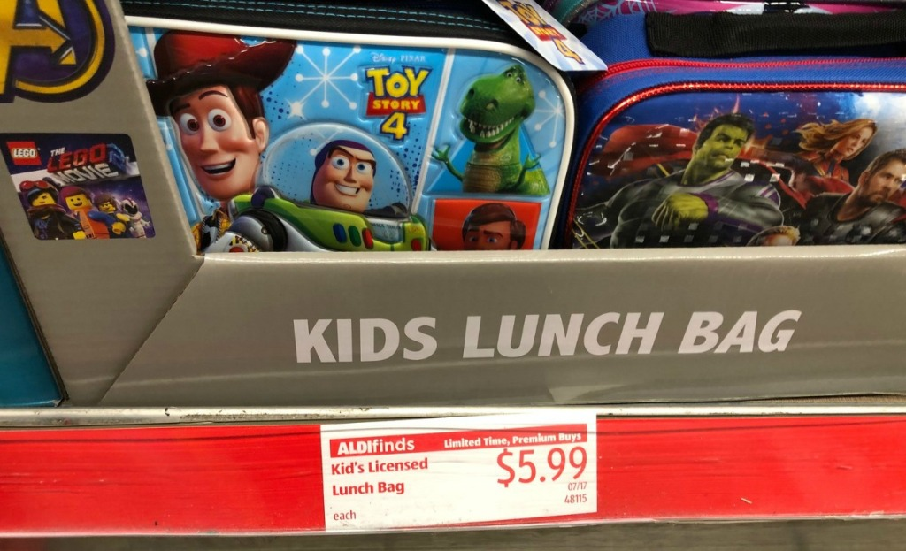 Store display of kids lunch bags in Toy Story 4 and Marvel Avengers