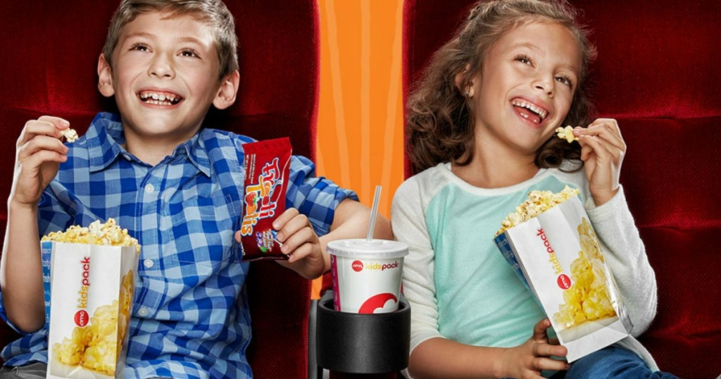 kids eating popcorn at an amc theater