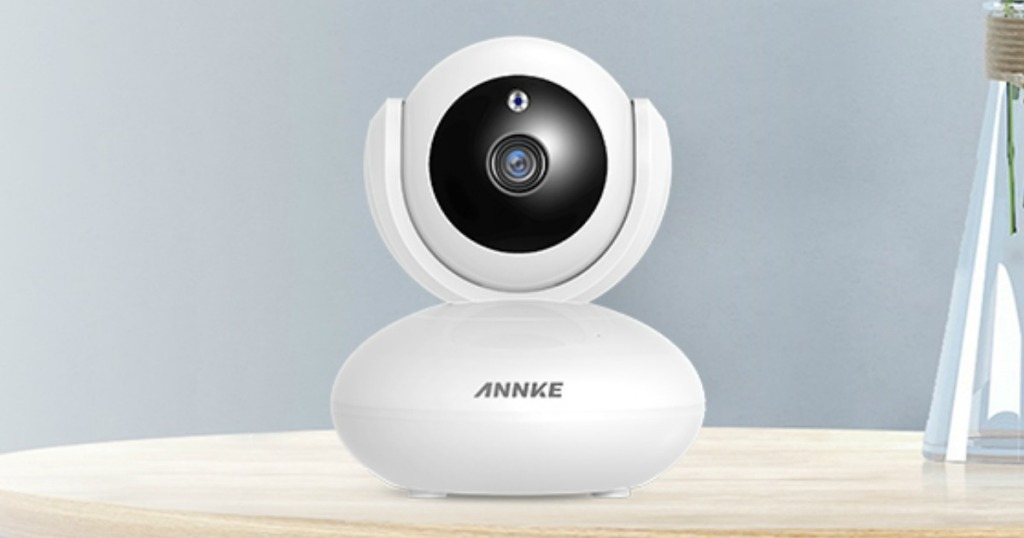 ANNKE Wireless 1080P Home Security Camera sitting on a counter