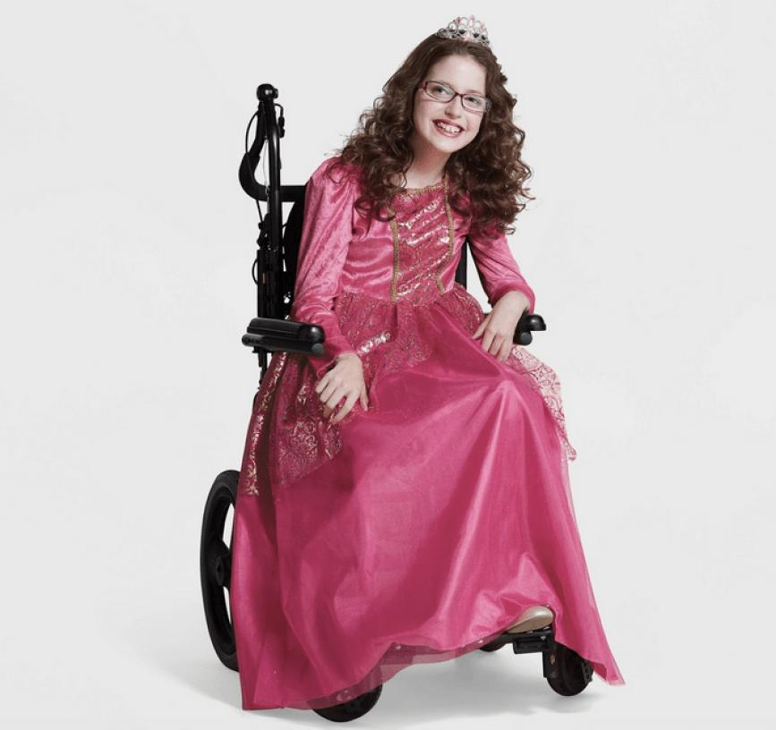 girl in wheelchair wearing Target princess costume