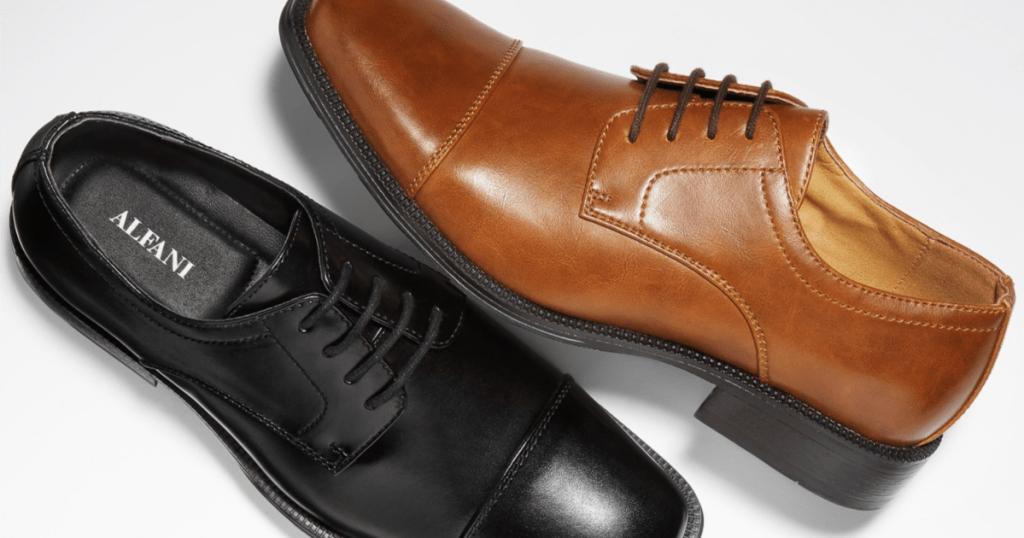 Alfani Men's Adam Cap Toe Shoes Brown and Black