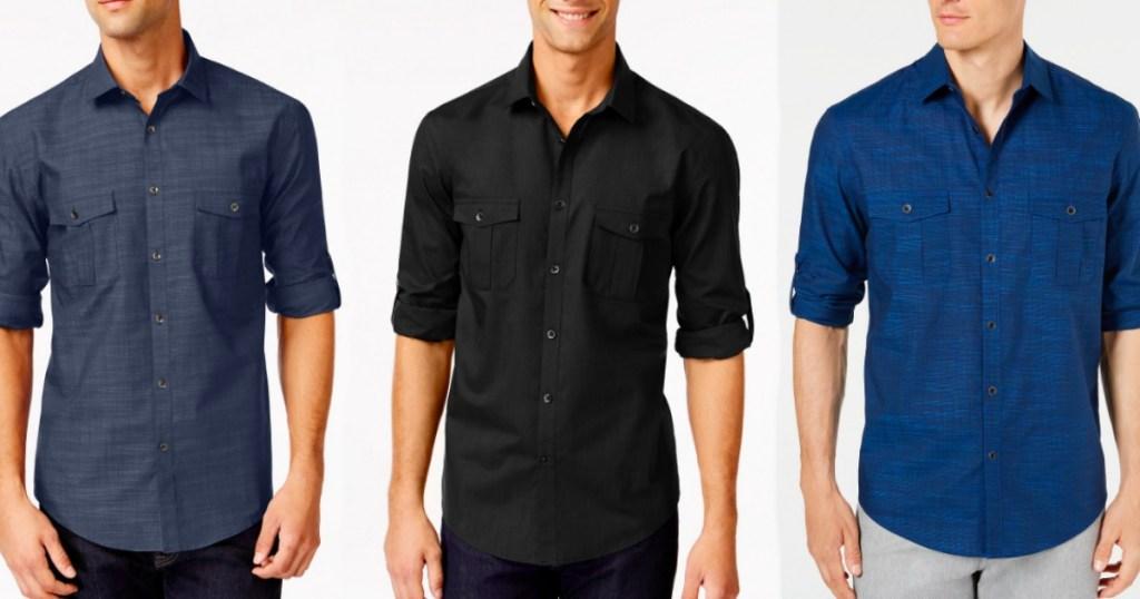 3 men with Alfani dress shirts on