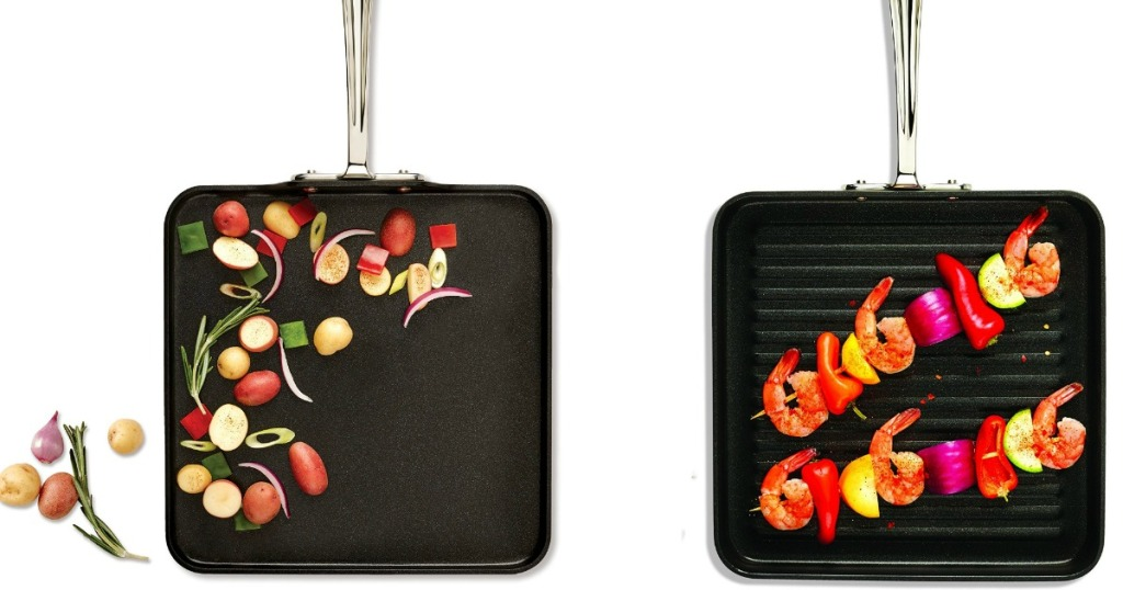 """All-Clad Hard Anodized 11"""" Square Griddle with food on it"""