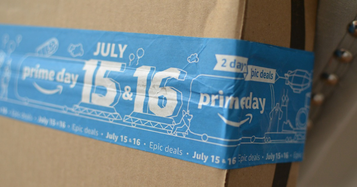 Amazon box with Prime Day packing tape